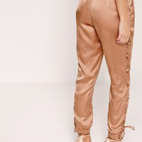 Missguided - Satin Lace Up Side Joggers Nude