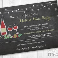 Mulled Wine Christmas Party Invitations X-Mas Holiday Season Invite Festive Eat Drink Merry Party INSTANT DOWNLOAD Chalk Printable Editable