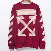 Off White Autumn And Winter Fashion New Letter Arrow Print Women Men Long Sleeve Top Sweater Burgundy