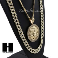 ICED OUT MEDUSA ROUND PENDANT 6mm CUBAN/12mm ICED OUT CUBAN CHAIN NECKLACE S029