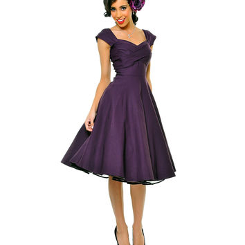 BEST SELLER! STOP STARING! MAD MEN Eggplant Pleated Bodice Cap Sleeve Swing Dress - Unique Vintage - Prom dresses, retro dresses, retro swimsuits.