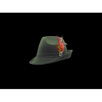 """Green """"German Hunter""""  Hat Fedora And Edelweiss & Feather"""