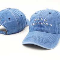 Real Friends Sports Embroidered Baseball Cap Denim Hats