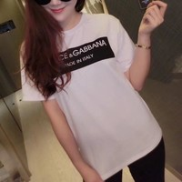 dolce gabbana women simple casual letter print short sleeve round neck t shirt top tee