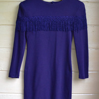 Vintage 1980s Purple Fringe Dress Stretch Knit Body Contour Bandage Mini/Midi Dress Fringe Party Dress Size 5/6