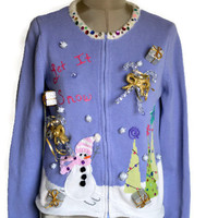 Ugly Tacky Christmas Sweater Cardigan Purple / Let It Snow / Fur Collar/ Christmas Sweater Party/Talbots Kids