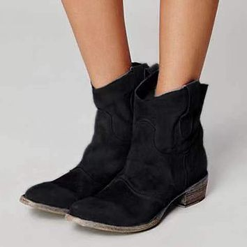 New Women Suede Boots Women Women Ladies Ankle Booties Round Toe Solid Boots Casual
