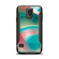 The Vivid Turquoise 3D Wave Pattern Samsung Galaxy S5 Otterbox Commuter Case Skin Set
