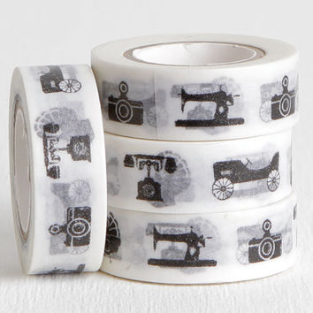 Retro Style Washi Tape with Black and White Car, Gramophone, Sewing Machine, Camera, and Rotary Telephone, Old Timey Washi 15mm