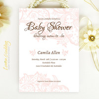 Elegant Lace Baby Shower Invitation - Pink lace baby girl shower invitation printed on luxury white or cream pearlescent paper