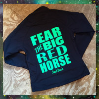 FEAR THE BIG RED HORSE (BLACK SOFT SHELL JACKET)