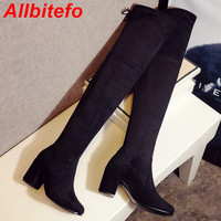 ALLBITEFO Fashion thick heel lace up slim over the knee boots sheepskin+Stretch Fabric thigh high boots sexy snow women boots