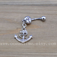 Anchor Belly Button Rings,Navel Jewlery,bling anchor belly button ring, navy ring,summer jewelry
