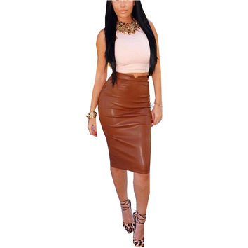 Women Soft PU Leather Skirt High Waist Slim Hip Pencil Skirts Vintage Bodycon Midi Skirt Sexy Clubwear Hot