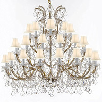 Chandelier Crystal Lighting Empress Crystal (Tm) Chandeliers 52X46 With White Shades - Gb104-Sc/Whiteshade/Gold756/36+1