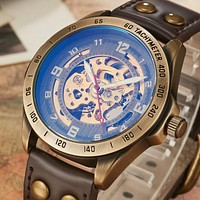 Top Brand Mens Self-Wind Mechanical Watches For Males Retro Automatic Skeleton Steampunk Leather Mechanical Watches Luxury Gifts