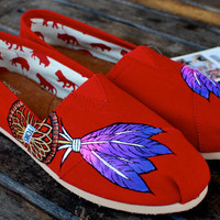Red Classic Dream Catcher TOMS by BStreetShoes on Etsy