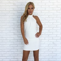 On The Move Halter White Dress