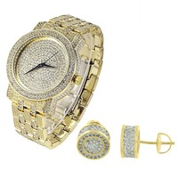 Men's Hip Hop Fully out Gold Finish Watch & Earrings Gift Set