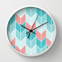 Mint Coral Chevrons Pattern Wall Clock by Doucette Designs