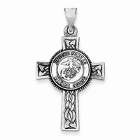 Sterling Silver US Marine Corp Cross Pendant