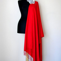 Red Shawl, Solid Color Red Pashmina, Cashmere Silk Scarf, Elegant Wrap, Bridesmaid Gift, Wedding Shawl, Removable Flower Brooch Pin