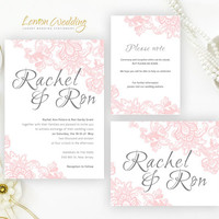 Pink Lace Wedding Invitation Sets
