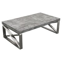 Carrera Cocktail Table in Faux Concrete Finish with Brushed Stainless Steel Legs