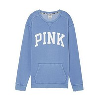 Victoria's Secret PINK Women's Fashion Letter Print Long-sleeves Pullover Tops Sweater Blue