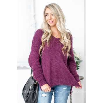 Fuzzy Scoop Neck Knitted Sweater | Magenta