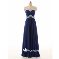 Navy Blue Beaded Illusion Ruched Chiffon Prom Dress With Cut Out Back