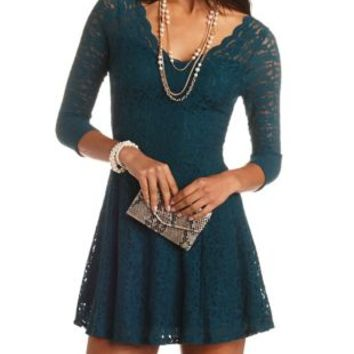 Scalloped Lace Skater Dress by Charlotte Russe - Shaded Spruce