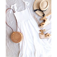 FINAL SALE - Everly - Lovely Lace Smocked Top Eyelet Midi Maxi Dress in White