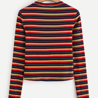 Colorful Striped Ribbed Tee -SheIn(Sheinside)