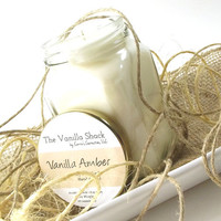 Vanilla Amber scented Soy Candles, Candles in Jars, Vanilla Candle, Handmade Candles, Gifts for Her, All Natural Candles, 10 Ounce