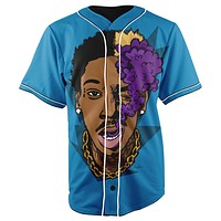 Wiz Khalifa Blue Button Up Baseball Jersey