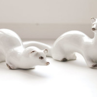Set of two Weasels soviet porcelain figurine. Polonsky factory of art ceramics USSR - USSR decor