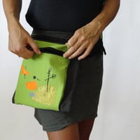 Festival Hip Bag Grey Green Urban Glam Hip Bag OOAK, Urban Belt Bag, Festival Belt Bag, Hip Bet Bag