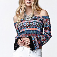 LA Hearts Off-The-Shoulder Bell Sleeve Cropped Top at PacSun.com
