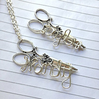 Custom name necklace with large stylist by QueenCityConceptions