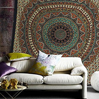 Popular Handicrafts Hippie Mandala Bohemian Psychedelic Intricate Floral Design Indian Bedspread Magical Thinking Tapestry 84x90 Inches,(215x230cms) Green orrange
