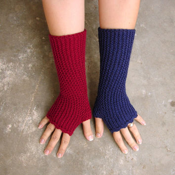 Fingerless gloves in soft acrylic, Burgundy and purple texting gloves, vegan friendly, handknit soft armwarmers, choose your color and size