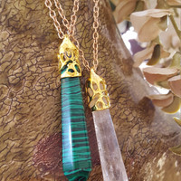 Beautiful Fine jewelry, geometric natural stone pendant with long adjustable gold plated necklace