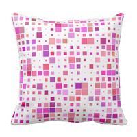 Pink Square Pattern Abstract Retro Throw Pillow