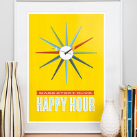 Inspirational quote print poster mid century poster retro by handz