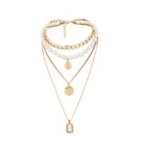 "11"" gold crystal charm layered faux pearl choker necklace"
