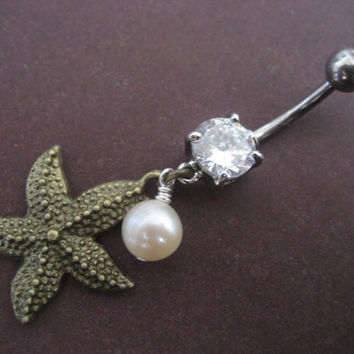 Bronze Starfish Belly Button Ring Dangly Star by Azeetadesigns