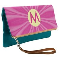 Bright Pink Sunburst or Flower with Initial Clutch