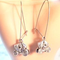 skull pumpkin carriage earrings halloween fall tibetan silver charm jewelry