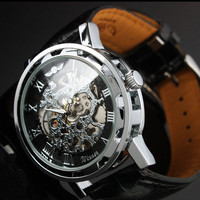 Men Watch Mechanical Watch Steampunk gear watch, Silver with black leather band